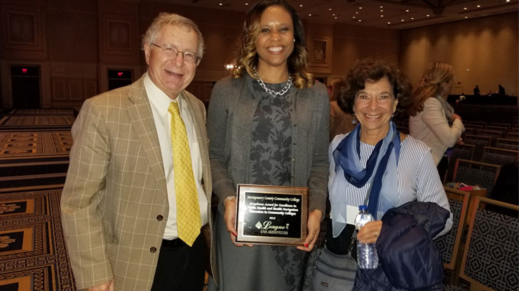 From left: Dr. Richard Riegelman, Montgomery County Community College Interim Dean of Health Sciences Natasha Patterson and Linda Riegelman. Photo courtesy of League for Innovation in the Community College.