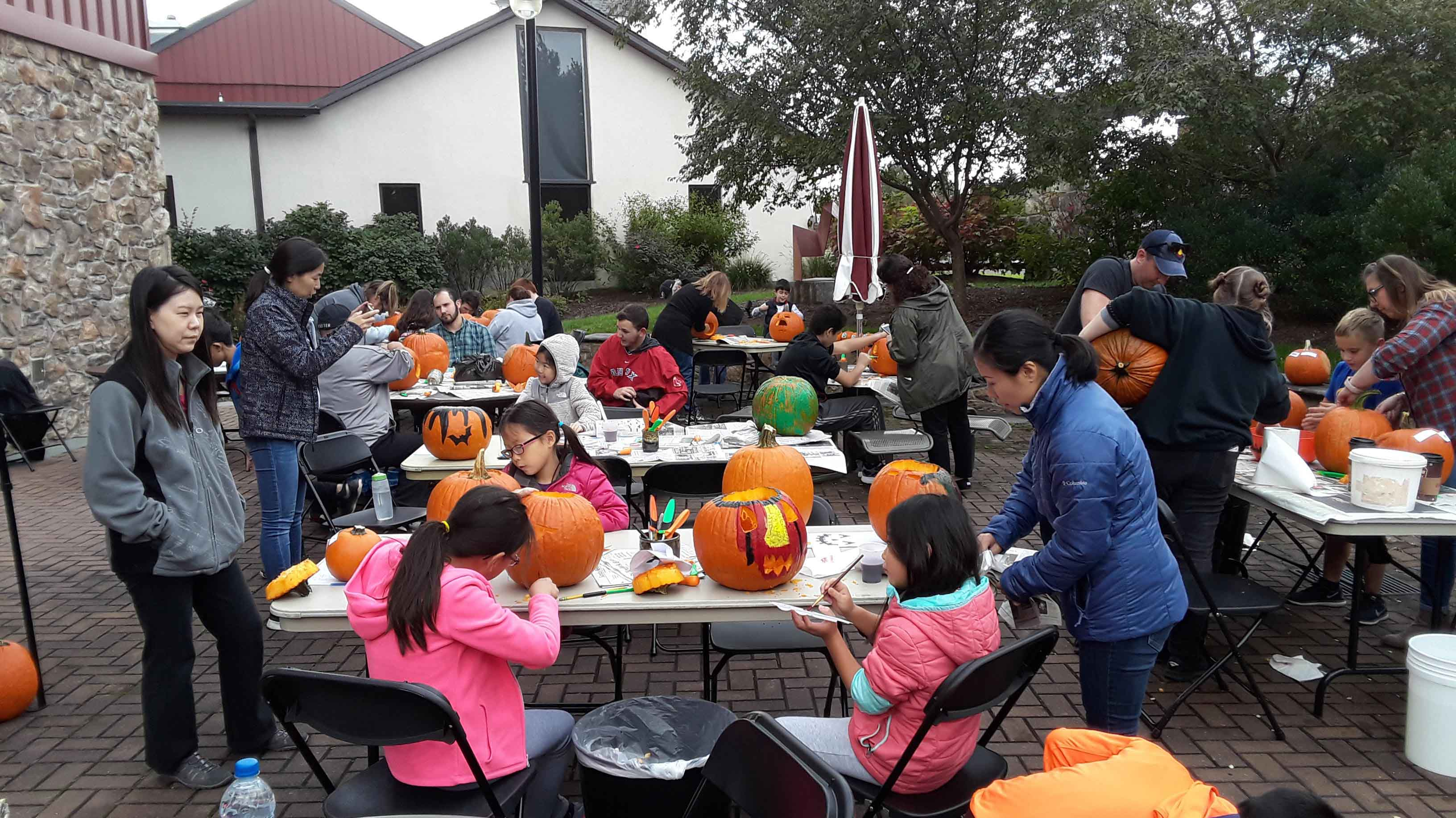 Families gathered at Montco's Fine Arts Center on Oct. 20 to carve pumpkins for Halloween.