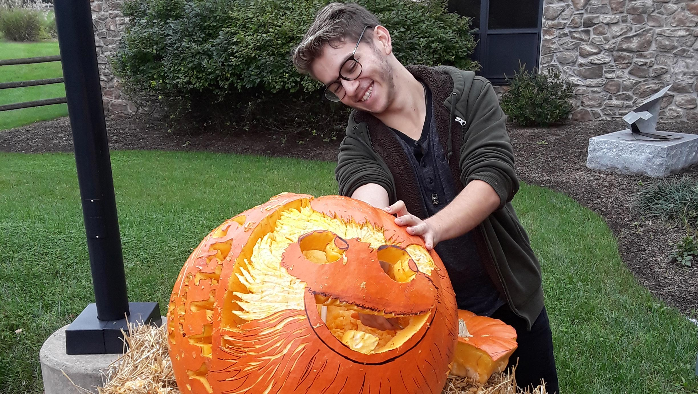 What do you do with a 109-lb. pumpkin? Make it look like Gritty!