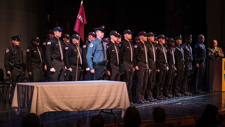 Thirty cadets are prepared to join area police forces following their recent graduation from Montgomery County Community College's Municipal Police Academy. Photo by Chloe Elmer