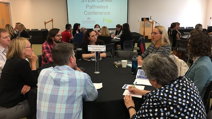 Area high school teachers gathered at Montgomery County Community College on April 12 to learn more about pathways to careers in Science, Technology, Engineering and Mathematics by listening to and interacting with industry professionals.
