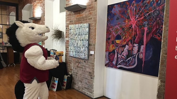 Monty enjoys MCCC's art exhibition featuring the work of Kutztown University's art faculty. The exhibit runs from Sept. 4 to Nov. 8 at the North Hall Gallery, West Campus, 16 E. High Street, Pottstown.