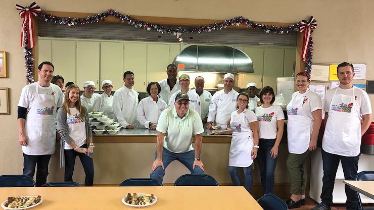 VFTCB partnered with the Culinary Arts Institute of Montgomery County Community College and the Montgomery County Commissioners on September 13 to cook a Friday lunch for patrons at Cecil and Grace Bean's Soup Kitchen in Norristown. Photo Credit: Matthew Moorhead