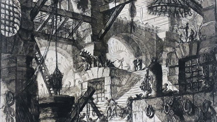 "Montgomery County Community College will host Inside/Outside: Views from the Goebel Collection of Eastern University including ""Inside Outside Piranesi prison""--The Well, Giovanni Battista Piranesi, etching, 1760."
