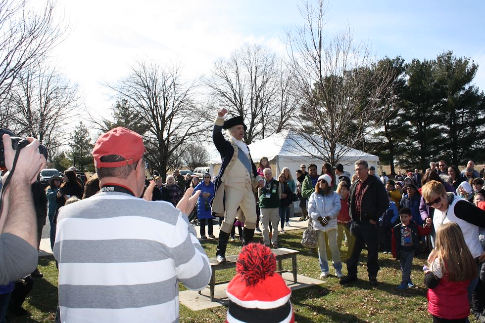 George Washington rallies the troops at his birthday celebration. Photo by Matthew Moorhead